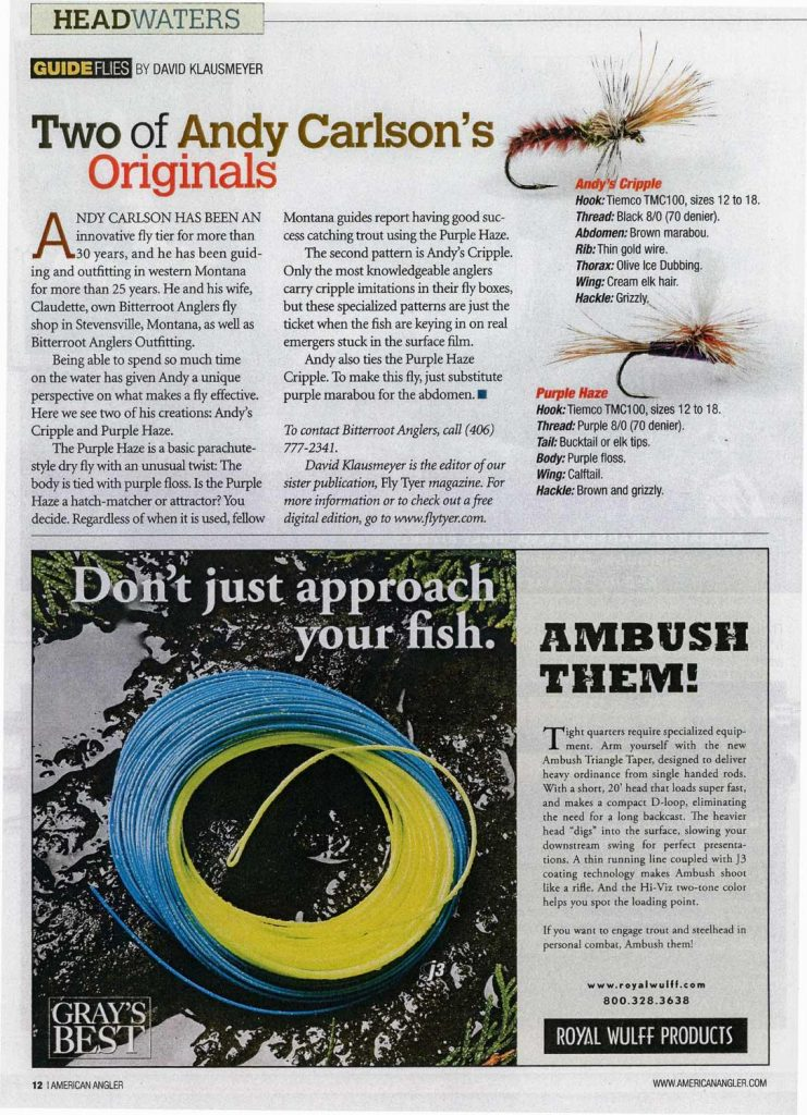 Bitterroot Anglers - Andy Carlson article in American Angler Magazine - Fly Tying