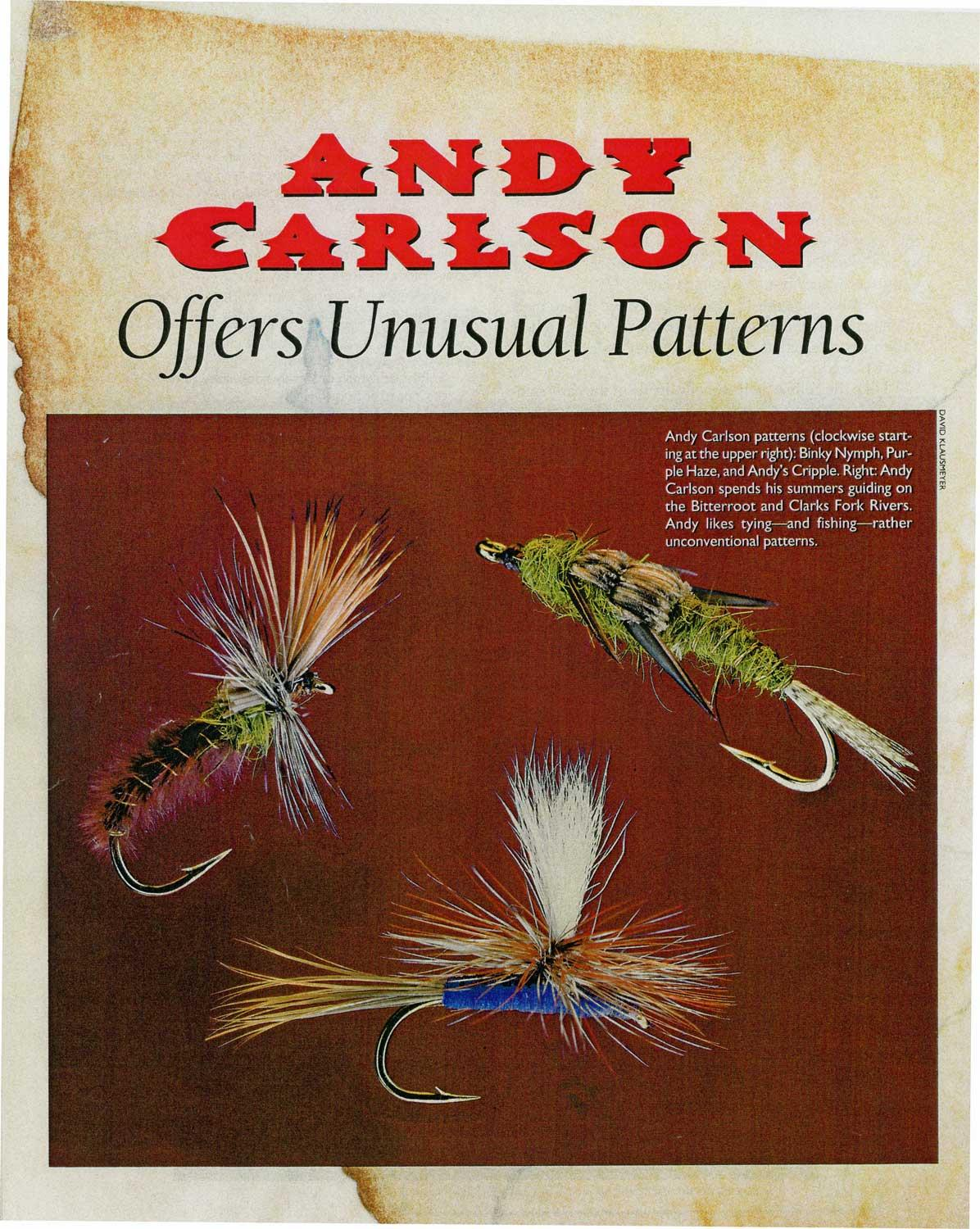 Fly Tying - Andy Carlson article in Fly Tyer Magazine - Purple Haze, Binky Nymph and Andy's Cripple
