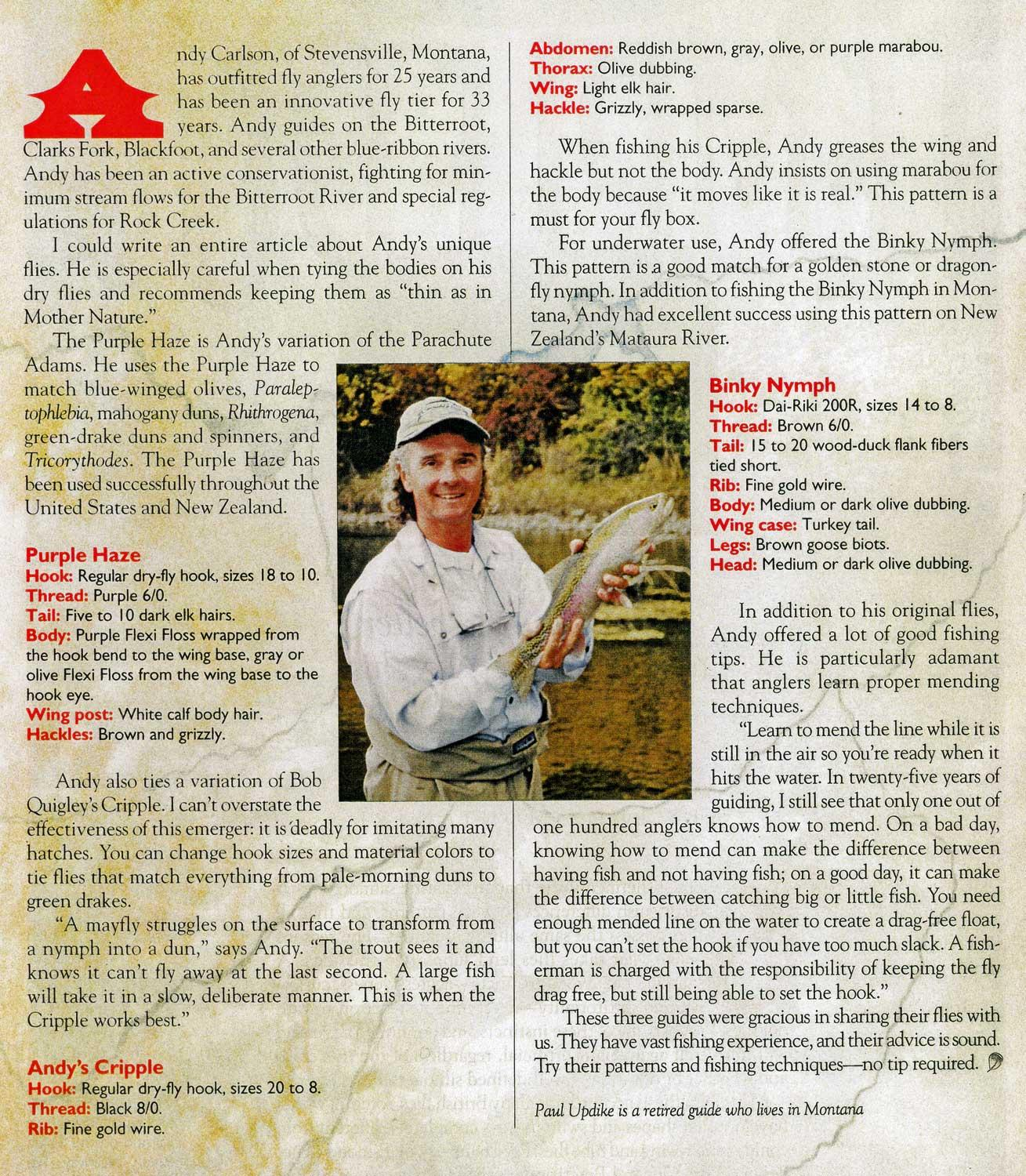 Fly Tying - Andy Carlson article in Fly Tyer Magazine -Purple Haze, Binky Nymph and Andy's Cripple